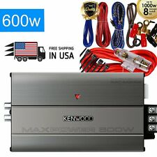 Kenwood KAC-M3004 600W 4-Channel Motorcycle Class D Marine Amp + Red Amp Kit