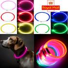 USB Rechargeable LED Dog Pet Collar Flashing Luminous Safety Light Up Nylon UK