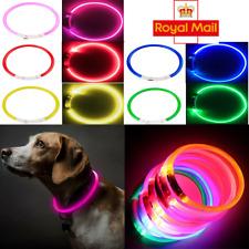 More details for usb rechargeable led dog pet collar flashing luminous safety light up nylon uk