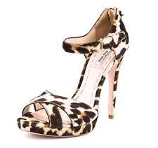 MIU MIU Womens Womens Brown Beige Leopard Pony Hair Strappy High Heel Pump 10-40