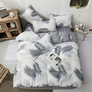 Duvet Doona Quilt Cover Set Single Double Queen King Bed Pillowcase Leaf Black