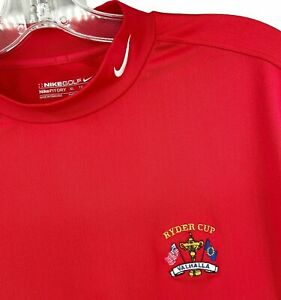 Nike Golf Mock Neck Fit Dri Short Sleeve Shirt Red Ryder Cup 2008 Valhalla XL
