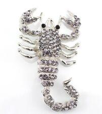 Designer Scorpion Brooch Pin Smokey Elegant Austrian Rhinestone Crystal