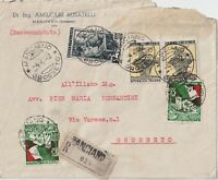 ITALY 1952 MULTI FRANCHISING REGISTERED COVER  FROM MANCIANO TO GROSSETO