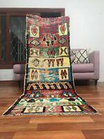 "Vintage Moroccan handmade 2'6""x7'3"" Bohemian Berber Geometric Colorful Runner"