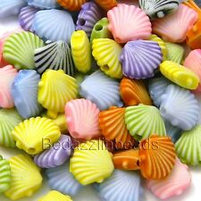 100 Plastic Acrylic 7mm Clam Shell Seashell Beads in a Mix of Assorted Colors
