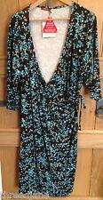 Savoir Brown Multi Faux Wrap Effect Jersey 3/4 Sleeve Dress - UK 22 - BNWT