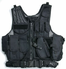 BLACK TACTICAL VEST BLACK FOR HUNTING POLICE SWAT WITH HOLSTER POUCH