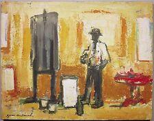 Karel Jan Van Den Heuvel c.1950's studio interior Dutch artist oil painting
