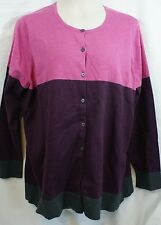 2X CROFT&BARROW BURGUNDY/PINK/CHARCOAL COLOR BLOCK SWEATER Cardigan NWT! $44