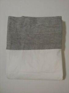 Pottery Barn Linen Band Shower Curtain Gray New