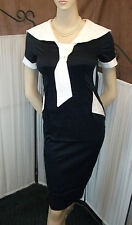 Vintage Retro 1950s Navy & White Sailor Style Pencil Wiggle Fitted Dress