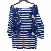 Ann Taylor Loft Womens Top Blue White Floral Stripe 3/4 Sleeve Scoop Neck S