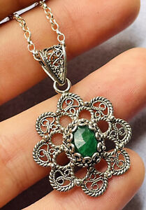 Vintage silver filigree and emerald pendant with silver chain