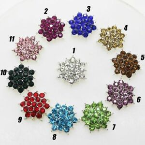 Bling Metal Fashion Flower Button Can Mix Color Cluster Crystal Rhinestone Jewel