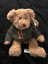 Harrods Knightsbridge Brown Bear Plush Green Sweater c1998 10""