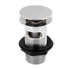 Pop Up Basin Waste Plug ; Chrome Bathroom Slotted Push Button ; Brass Sink Waste