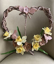 Heart Shaped Spring Door Wreath with Daffodils, Birds