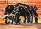 ACEO Original Graffiti Art Card Elephant Family Lucky Paint 100% Hand Painting