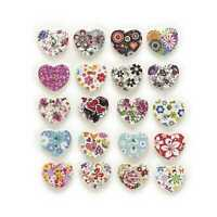 50 Heart 2 Hole Wood Buttons Sewing Scrapbooking Clothing Gift Home Decor 17mm