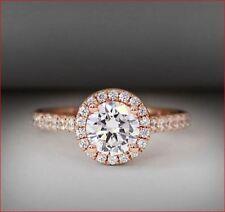 Moissanite Engagement Ring 14K Rose Gold 2.50 Crt Round Shape Forever Brilliant