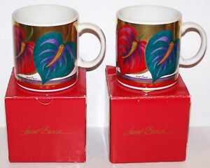 GORGEOUS PAIR OF LAUREL BURCH ANTHURIUM FLORAL COFFEE MUGS IN BOXES