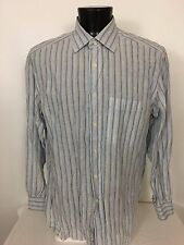 Ermenegildo Zegna 100% Linen Button Down Shirt Long Sleeve Striped - 44 - 17 1/2