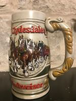 Budweiser 1983 Beer Holiday Clydesdales Stein Mug Cameo Wheatland Ceramarte