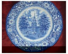 VINTAGE LIBERTY BLUE PLATE - Historic Colonial Scenes - INDEPENDENCE HALL