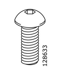 4x IKEA Hex5 Flat METRIC SCREW M8 20mm length Steel Black Part 128633