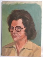 Vintage Painting On Board Double Sided Portrait Woman Street By Docks Nautical
