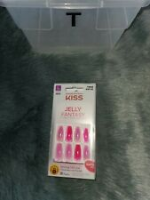 NEW Kiss Nails Jelly Fantasy Press or Glue Manicure Long Gel Coffin Pink Glitter