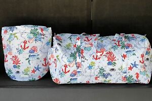 New! Vera Bradley Large Traveler Duffel & Ditty Bag In Anchors. Aweigh