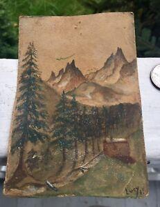 Rare Handpainted Postcard Mt.Cabin 1919