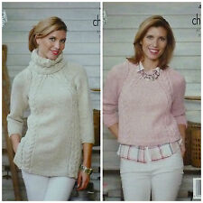 KNITTING PATTERN Ladies Cowl Neck Cable Tunic & Cable Jumper Chunky 4506