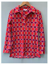 Jude Connally Small Tunic Top Pink Purple Shirt Collared Long Sleeve Blouse