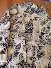 Chicos denim jacket size 1X Abstract Print Cream Black 100% Cotton