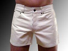 Lederhose kurz weiß Ledershorts weiss Pantalon short Cuir LEDERFUTTER  leather