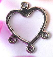20Pcs Cute Tibetan Silver heart-shape Charms Connectors 16X13MM  SH1110