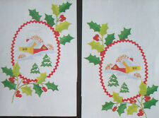 2 Christmas houses surrounded by holly Guest Towels to embroider Bucilla