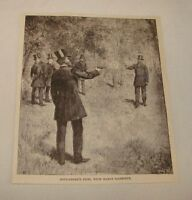 1887 magazine engraving ~  BOULANGER'S DUEL WITH BARON, France