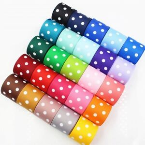 Polka Dot Grosgrain Ribbon 22mm wide 1m / 2m / 3m in Various Colours and Lengths