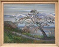 Impressionist Baumblüte am Meer Unleserlich signiert 54 x 67 cm