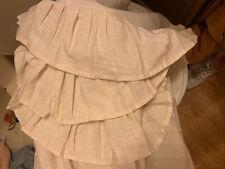 Country Primitive Farmhouse Shabby Chic Cream FLAX RUFFLED Shower Curtain/w Line