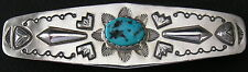 """Vintage Navajo Sterling Silver Turquoise Barrette Hair Clip, 3 5/8"""" Long"""