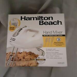 Hamilton Beach 6-Speed Hand Mixer with Case - White New