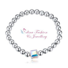 18K White Gold GP Made With Swarovski Crystal Water Cube Beaded Stretch Bracelet