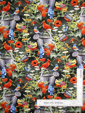 Bird Water Can Garden Flowers Green Cotton Fabric CP55748 Wild Wings By The Yard