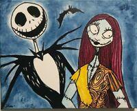 Jack and Sally Painting from Nightmare Before Christmas Movie Tim Burton Classic