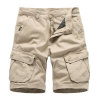 Men's Loose Overalls Cargo Shorts Pockets Cotton Sports Outdoor Short Pants Chic